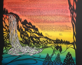Snoqualmie Falls Papercut Ketubah - multilayer papercut wedding artwork - Hebrew and English hand lettering