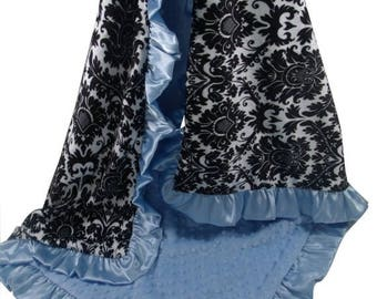 SALE Black and Gray Damask Minky Baby Blanket with Blue Dot minky Back and Satin Ruffle Trim, available in three sizesCan Be Personalized