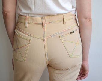 Vintage 70s Beige Bell Bottoms with Rainbow Thread/ Cropped Flare Jeans/ Big Yank / Size 32