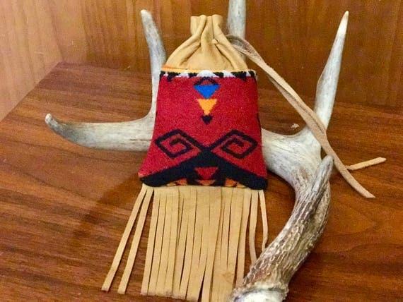 Fringed Possibles Bag Large / Cedar Bag / Medicine Bag / Drawstring Bag Wool and Leather