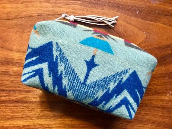 Cosmetic Bag / Makeup Bag / Zippered Pouch Medium Wool Sage Green Echo Peaks