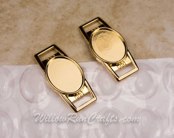 Gold Plated 12 x 16mm Shoelace Charm Kits, Oval Shoe Lace Charms (07-46-946) with Epoxy domes 10, 20, 25, or 30 sets.