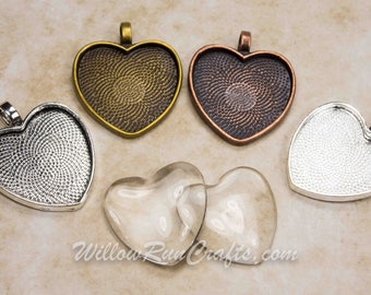40 pcs 25mm Heart Pendant Trays, Pick from Shiny Silver, Antique Silver, Antique Bronze, and Antique Copper, Blank Bezel Cabochon Setting