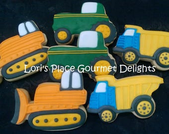 Construction Cookies - Dump truck - Bulldozer - Tractor - 12 Cookies