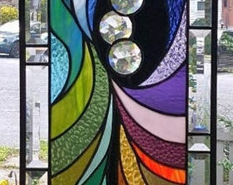 DIAMONDS in the ROUGH Stained Glass Window Panel (Signed and dated)