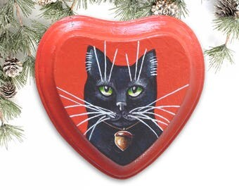 Black Cat Portrait Black Cat Art Christmas Gift - Cat Painting on Wood Cat Wall Decor Animals Wall Art Cat Lover Gift