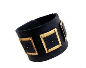 "40% OFF SALE Fashion leather cuff bracelet. Black and gold color Leather jewelry Wristband ""Geometry of Metamorphose"" collection"