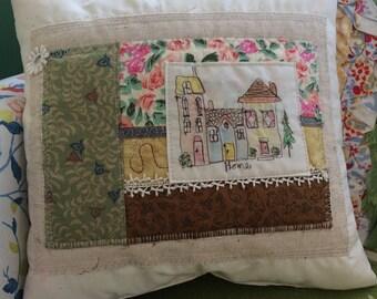 Throw Pillow, Decorator Pillow, Accent Pillow, Summer Pillow, New Home Theme Decor, Patchwork,  Summer Appliqued Pillow, Free-Motion