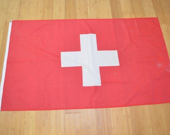 Vintage SWITZERLAND FLAG large size polyester swiss suisse 1970's