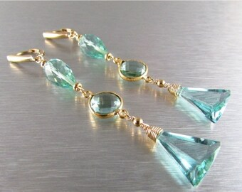 25 OFF Aquamarine Quartz Long Dangle Earrings