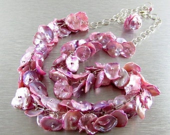 25 OFF Pastel Pink Keishi Pearl and Sterling Silver Necklace