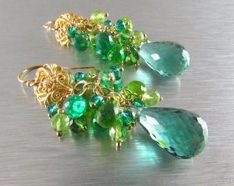 25 OFF Green Amethyst, Peridot, Green Apatite and Quartz Cluster Earrings