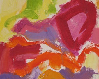 I Saw the Light, Original Oil on paper 12 x 9 Abstract red orange lavender acid green pink yellow