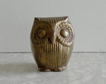 brass owl figurine, vintage brass bird figurine, small owl sculpture, collectible midcentury owl, graduation gift, forest animal, modern mcm