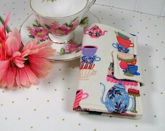 Tea Wallet, Tea Case, Tea Pouch, Travel Tea Bag Pouch, Travel Tea Wallet...Alice in Wonderland, Mad Tea Party in Natural, Rifle Paper Co