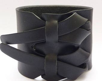 On Sale Black Leather Cuff, Leather Bracelet, in Flat Black by Muse 2 inches, Gift of Him, Gift for Her