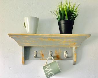 vintage wall shelf with mug hooks painted distressed kitchen shelf coat rack bedroom wall rack
