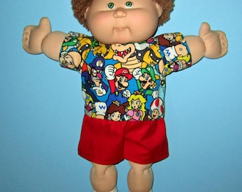 Cabbage Patch Kids, Doll Clothes, Mario Short  Set,   15 16  Inch Doll Clothes,  Boy Doll Clothes
