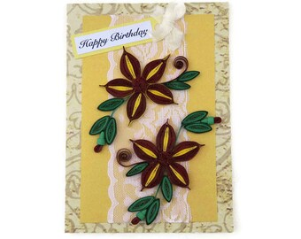Paper Quilling, Birthday Greeting Card, Paper Quilled Yellow Daisies, Free Shipping, Lace Birthday, Congratulations, Spring, Crimson Gold
