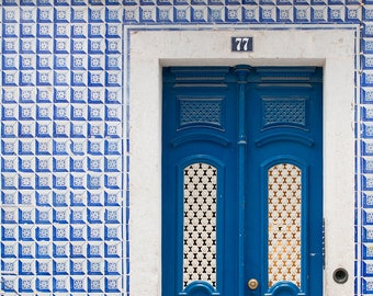 Door 77 - Cobalt Blue Door of Lisbon - Portugal photography, blue tiles, Door in Lisbon, blue wall art, portugal architecture, Landscape