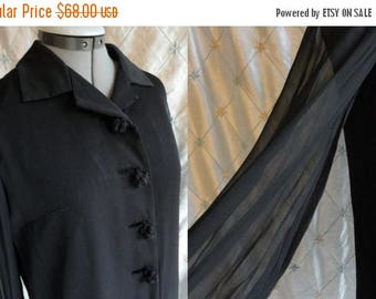 ON SALE 60s Dress /// 60s Party Dress // Vintage 1960s Black Cocktail Dress with Sheer Chiffon Sleeves Size L Xl