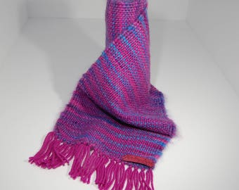Hand Woven Mohair & Wool Scarf in shades of pink