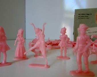 95 Vintage Miniature Plastic Dolls. 100 Dolls Comic Book Mail Order Pink Plastic Cowboys, ballerinas, Indians