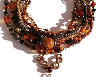 CLEARANCE Bronze, orange, amber vintage tone beads and agate pendant handmade necklace