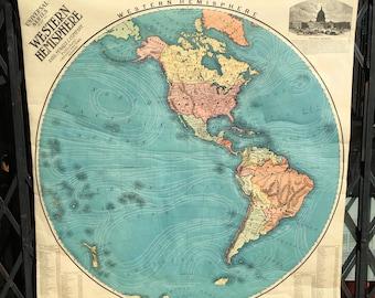 Antique School Classroom Map of the Western Hemisphere Circa 1910