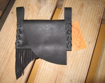 BLACK Leather Fringed Belt Pouch / Wallet / Cell Phone Carrier