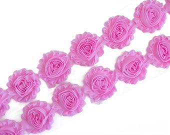 "Pink  : 14 Flowers  | 2.5"" Chiffon Craft Roses for Headband DIY Kits 