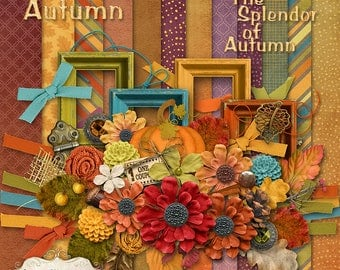 NEW - Autumn Splendor - Digital Scrapbooking Kit - 12 Papers - 50 Plus Elements - 40% OFF For First Week Only - 4.75