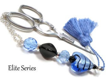 Handmade Beaded Scissor Fob Blue Heart Black Elite Series Quilting Sewing Cross Stitch Scissor Minder Scissor Keeper