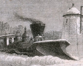 Antique Print of a Snow Plough of the Grand Trunk Railway, Canada - Victorian Print - January 11, 1862