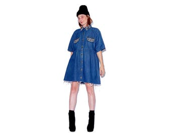 vintage 90s Denim Dress / omg STUDDED denim oversized dress jumper dress jean dress shirt dress ripped jeans distressed jeans 90s clothing