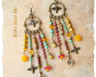Boho Style Earrings, Nature Inspired Statement Earrings, Wild Flower Honey, Bohemian Jewelry, Boho Style Me, Kaye Kraus