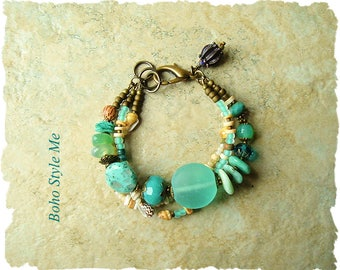 Boho Style Beaded Bracelet, Sea Glass and Stone, Pacific Coast, Layered Bracelet, Boho Style Me, Kaye Kraus