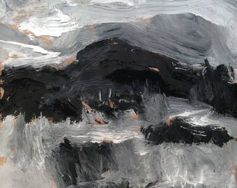 Landscape expressionist painting in  black and white featuring Berkshire Hills in wilderness natural setting