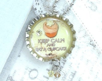 Cupcake Pendant Necklace Keep Calm Necklace Cupcake Jewelry Bottle Cap Necklace Cupcake Gift