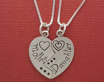 Sterling Silver Mother Daughter Necklaces set to Share Mom 925 Charm Pendants and Chains