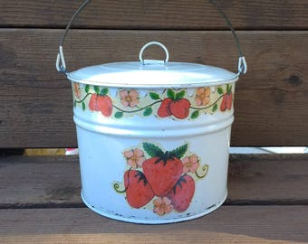 Original Jamar Tin Strawberry Lunch Pail Cookie Tin Button Tin  1973 Tiny Tin Buttons Tin Sewing Tin Marble Tin