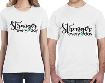 Stronger Every Day Tee Shirt - Domestic Violence Awareness Design - Help Stop Abuse - Black and Teal