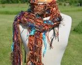 Knit Fringe art scarf, Dumpster Diva Series, Copper satin ribbon knit artsy fringed scarf, ribbon scarves, wearable art scarf, 'Canyon' Boho