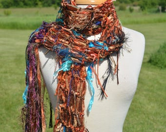 Knit Fringe art scarf, Dumpster Diva Series, Copper satin ribbon knit artsy fringed scarf, ribbon scarves, wearable art scarf, 'Canyon' Boho