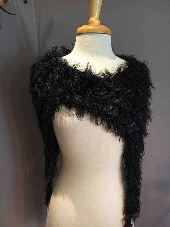 Knit offset fur shoulder wrap 'Hidden Jewel' Fringed Poncho, bolero, capulet, no sleeves, black faux fur base, aqua purple navy black, funky