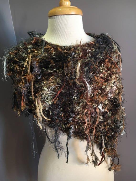 Fringed Fur-like Knit Cowl, Dumpster Diva 'Earthstone' lightweight Fringed shoulder, Wrap, Knit Poncho, scarves, Harley Davidson, Boho chic