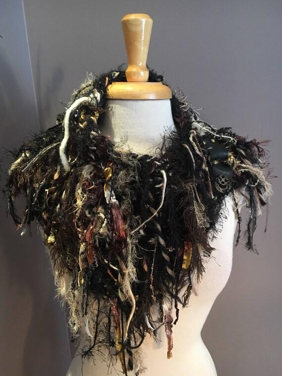 Handknit Shag Art Boho Cowl with leather embellishment, 'Fetish' Series, Knit Collar, Black Beige cowl with fringe, steampunk, artwear