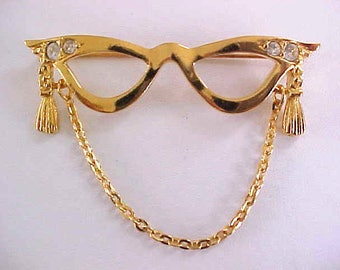 Signed Cat Glasses Eye Pin Vintage Rhinestones Chain