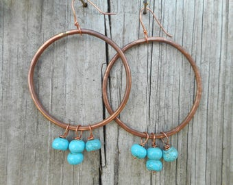 BoHo style hoop earrings, copper earrings, beaded hoop earrings, beaded dangles, rustic jewelry, nickel free jewelry