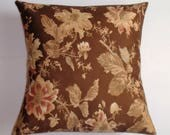 """Hold for Camhanover - Two 20x20"""" Throw Pillow Covers - Vintage Rose on Chocolate Fabric"""
